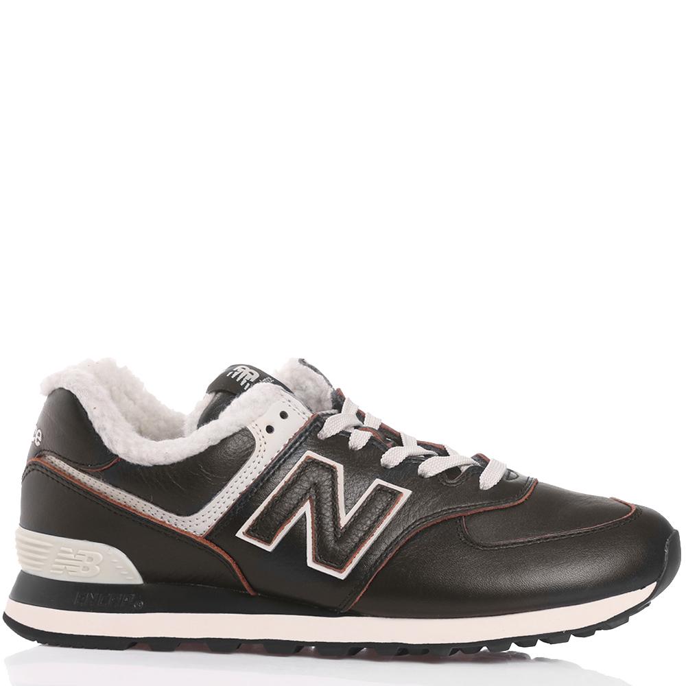 Утепленные кроссовки New Balance 574 темно-коричневого цвета