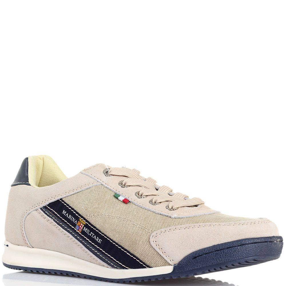 Замшевые кроссовки бежевого цвета с деталями из текстиля Marina Militare