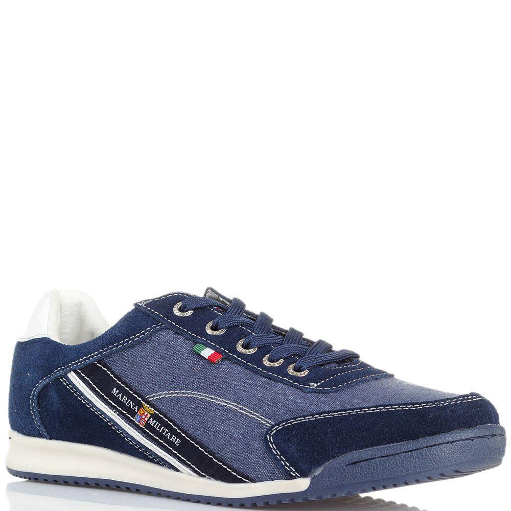 Джинсовые кроссовки с деталями из замши Marina Militare синего цвета