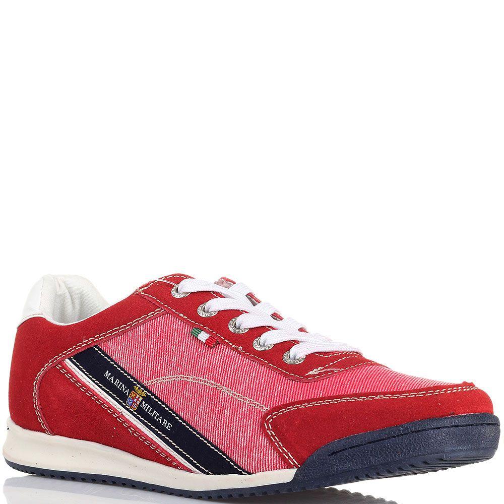Замшевые кроссовки с деталями из текстиля Marina Militare красного цвета