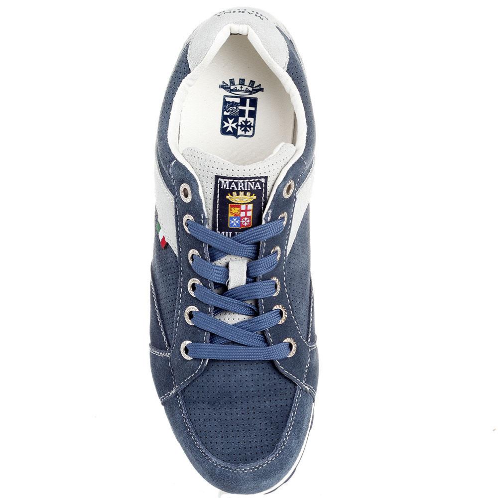 Замшевые синие кроссовки с деталями серого цвета Marina Militare