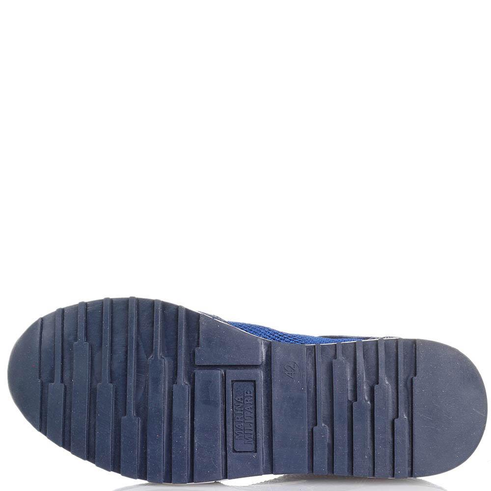 Кроссовки из замши голубого цвета с текстильными сетчатыми вставками Marina Militare