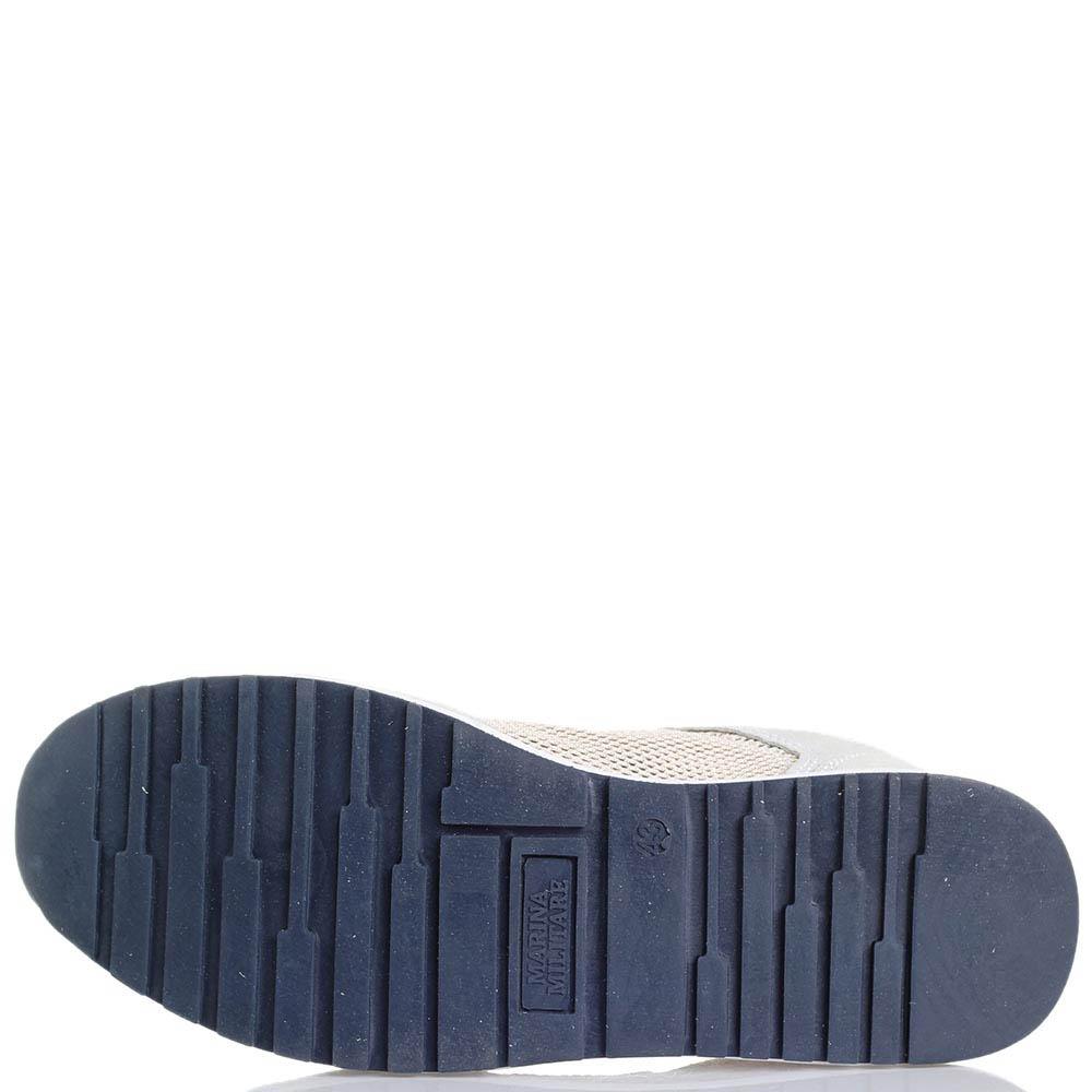 Кроссовки из замши с текстильными сетчатыми вставками Marina Militare белого цвета