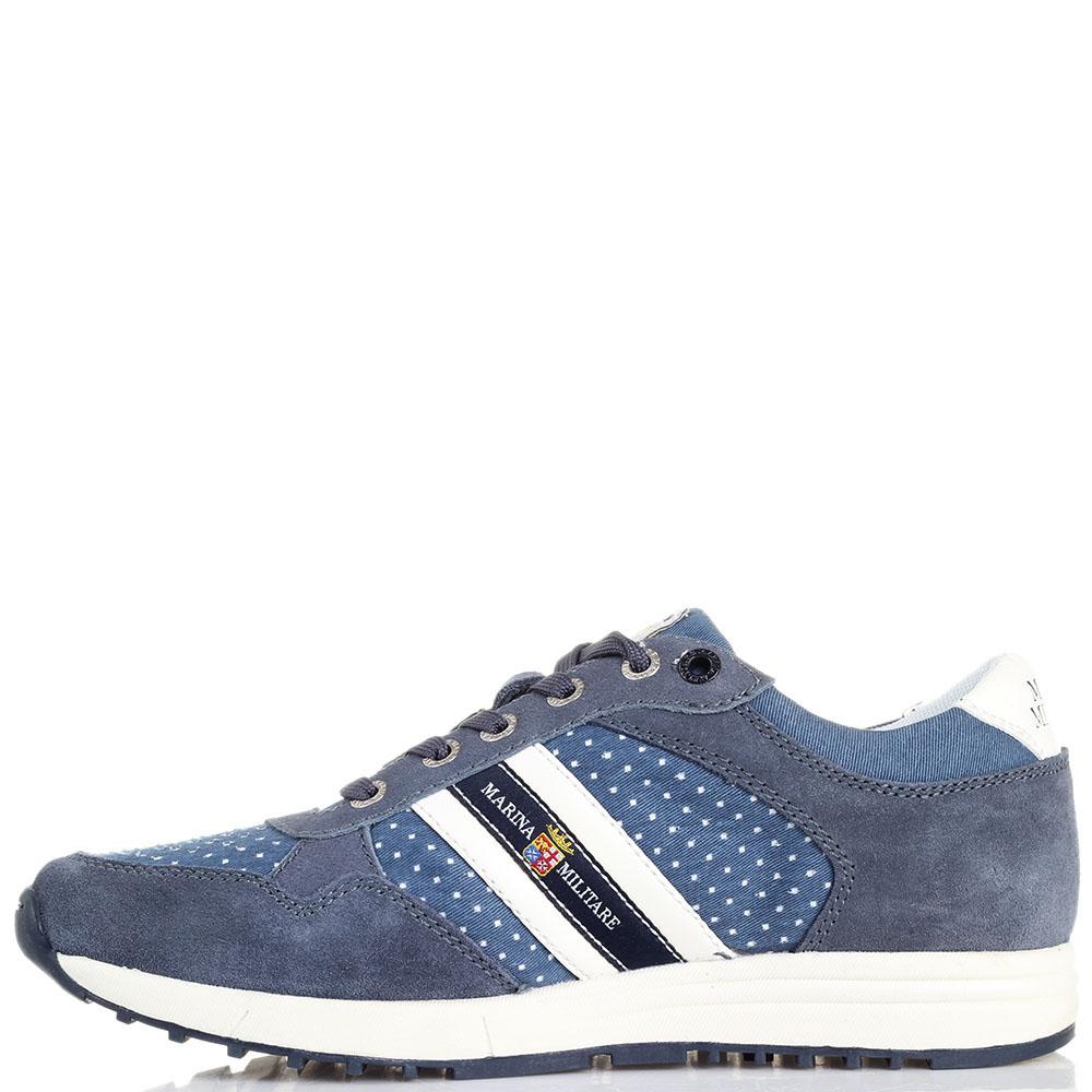 Замшевые кроссовки синего цвета с джинсовыми деталями Marina Militare