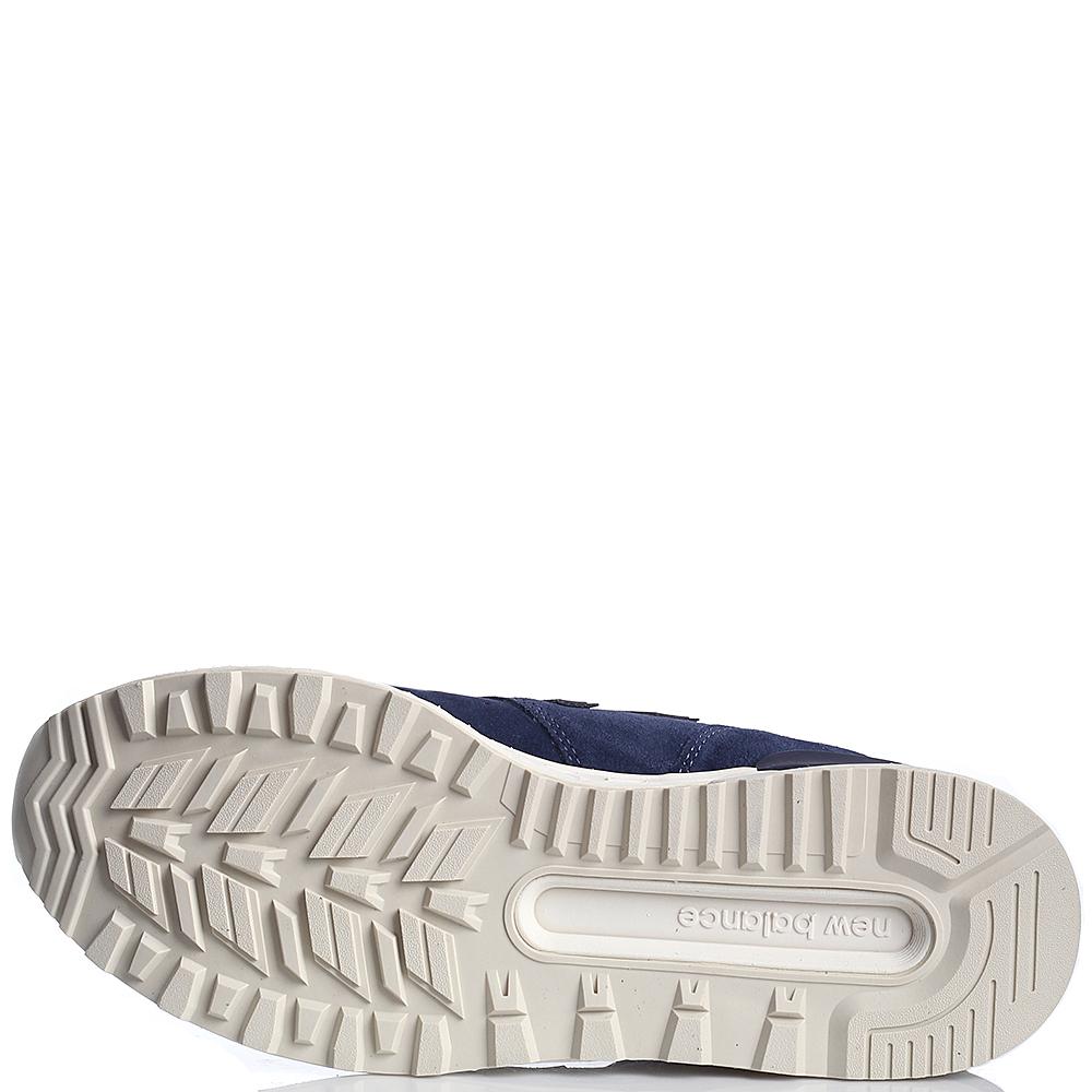 Кроссовки замшевые мужские New Balance 574 синего цвета с белой подошвой MS574FSL-o