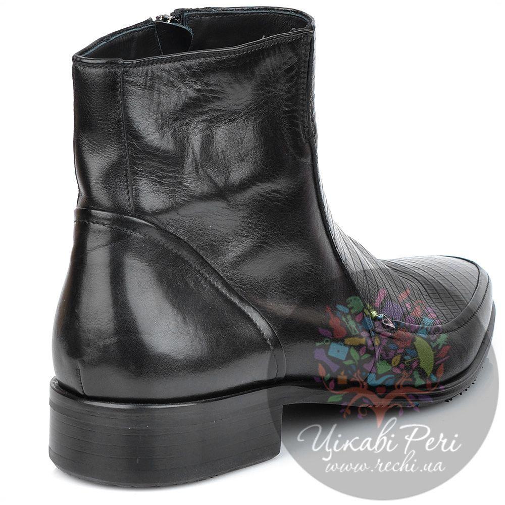 Ботинки Valerio Neri черные в сочетании гладкой кожи с фактурой кожи питона