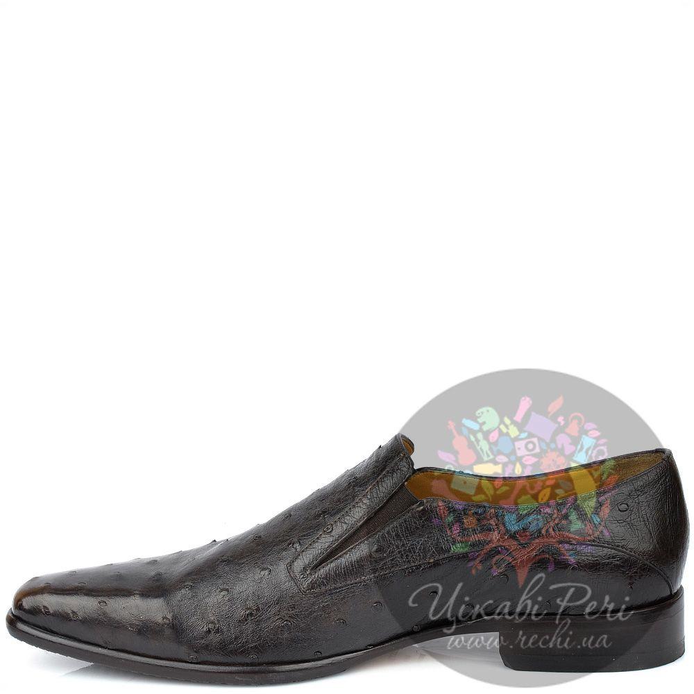 Туфли Pakerson коричневые с текстурой кожи страуса