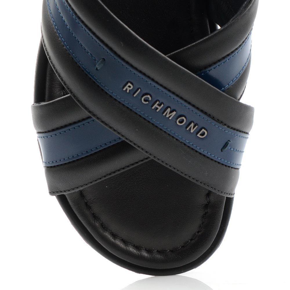 Сандалии Richmond из кожи черного и синего цвета