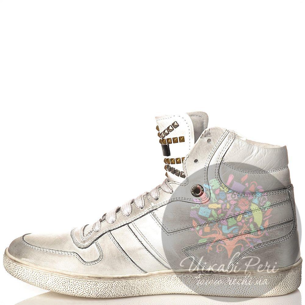 Кеды Richmond высокие кожаные белые со стильными серыми затертостями и шипами