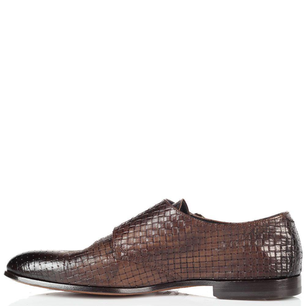 Кожаные плетеные туфли Doucal's коричневого цвета