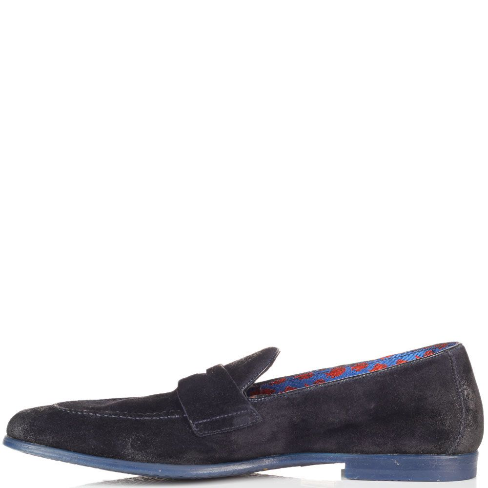 Замшевые туфли-лоферы Doucal's синего цвета с эффектом потертости