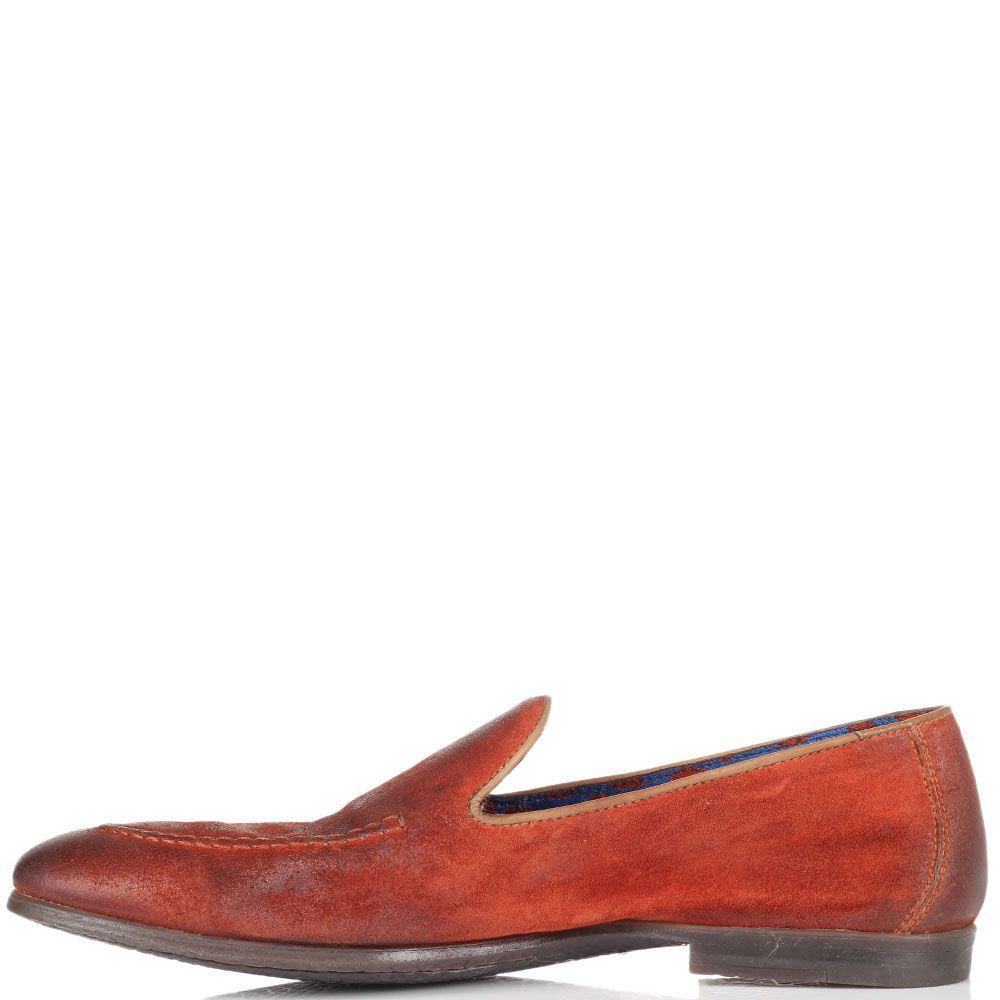 Кожаные лоферы Doucal's красного цвета с коричневыми подпалами