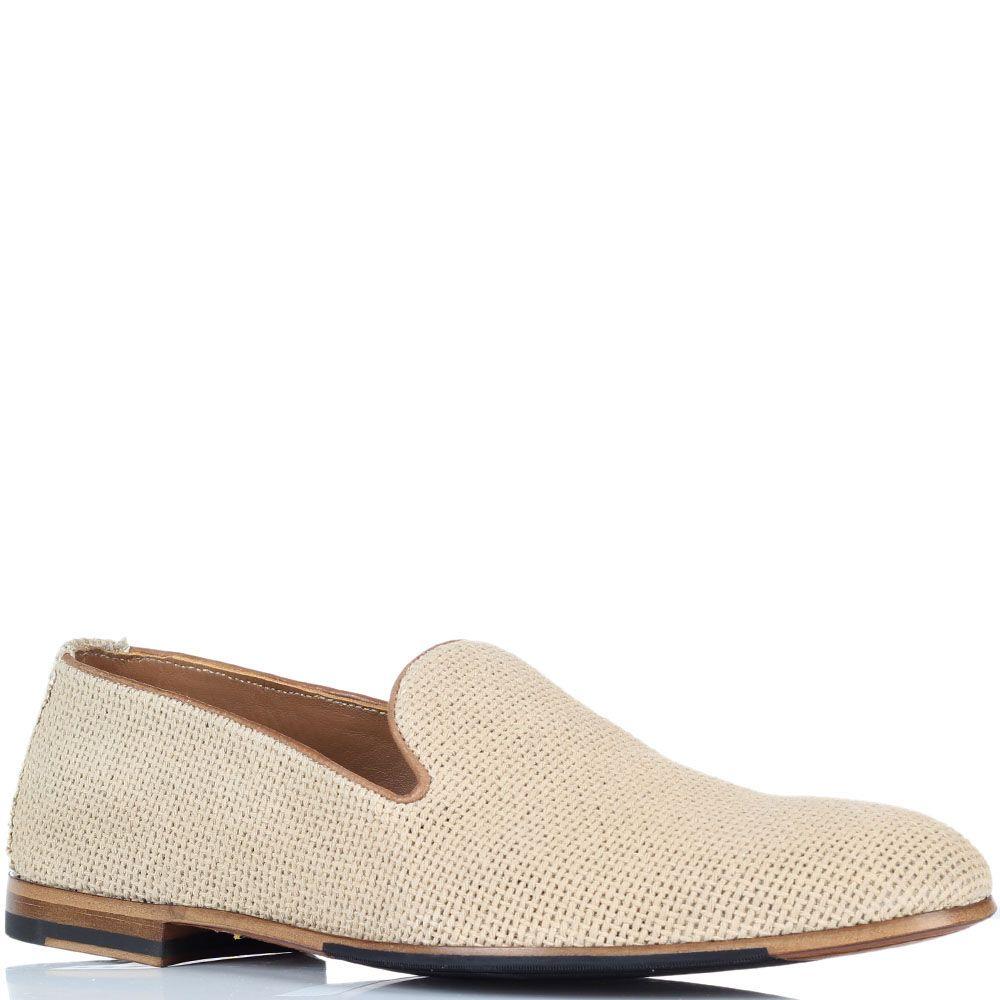 Туфли-лоферы из текстиля Doucal's бежевого цвета