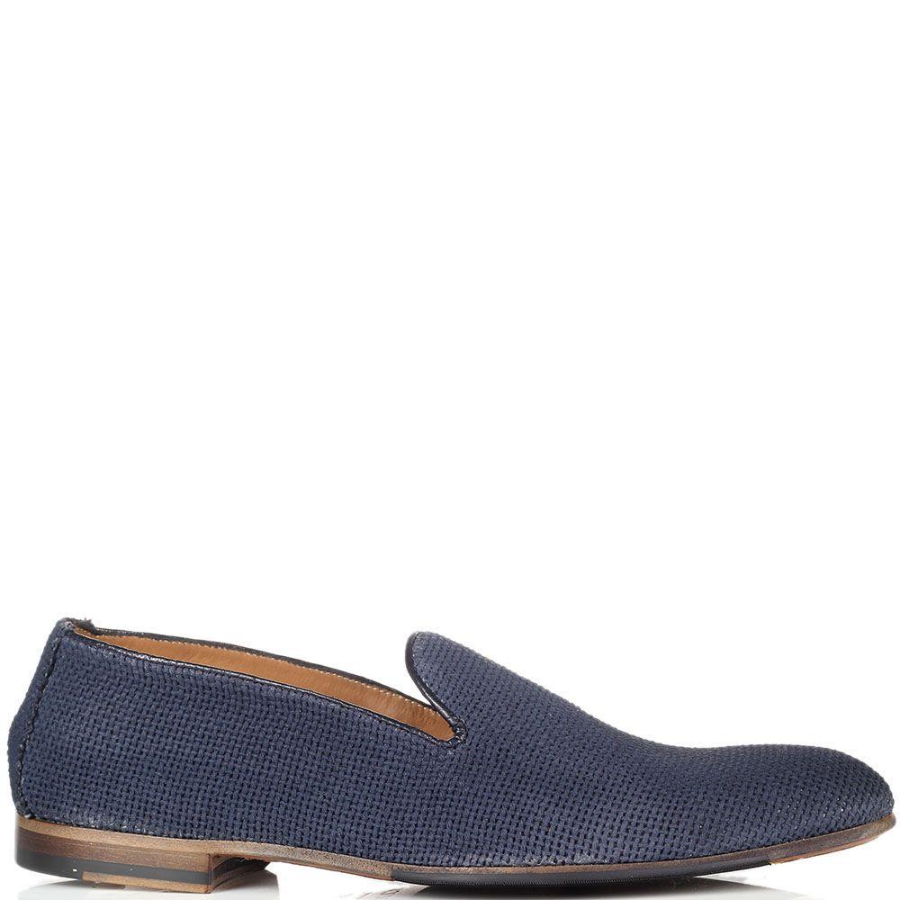 Туфли-лоферы из текстиля Doucal's голубого цвета
