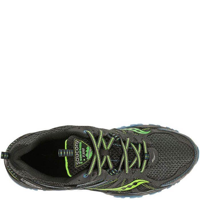 Мужские кроссовки Saucony Excursion TR8 GTX серые с голубым и зеленым