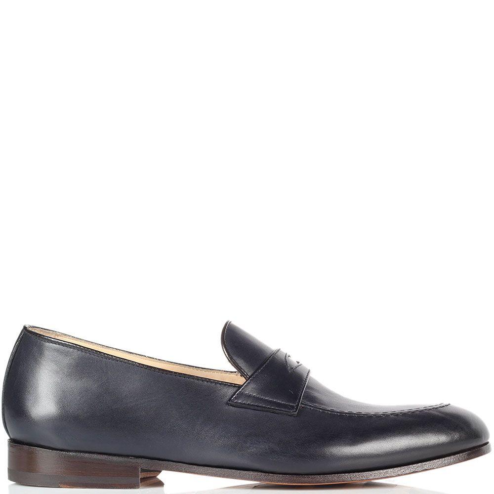 Кожаные туфли-лоферы Doucal's синего цвета