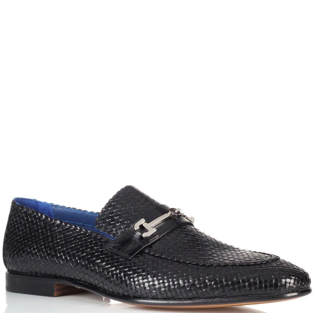 Кожаные плетеные туфли Moreschi с металлическим декором