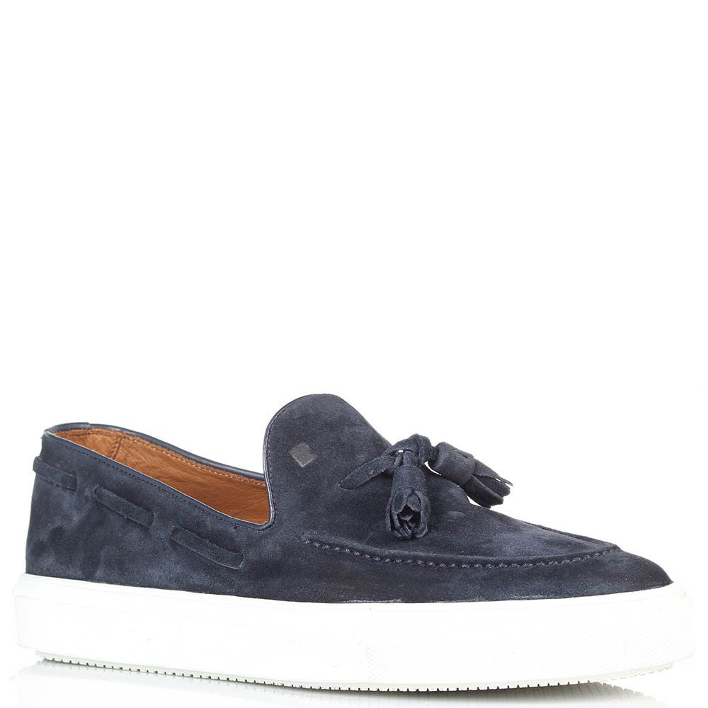 Замшевые туфли-лоферы с кисточками Fratelli Rossetti синего цвета на толстой подошве