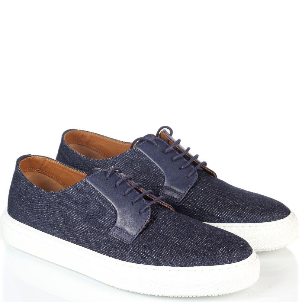 Мужские кеды Fratelli Rossetti синие на шнуровке