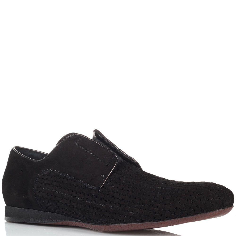 Черные замшевые туфли-броги Cesare Paciotti с перфорированными вставками