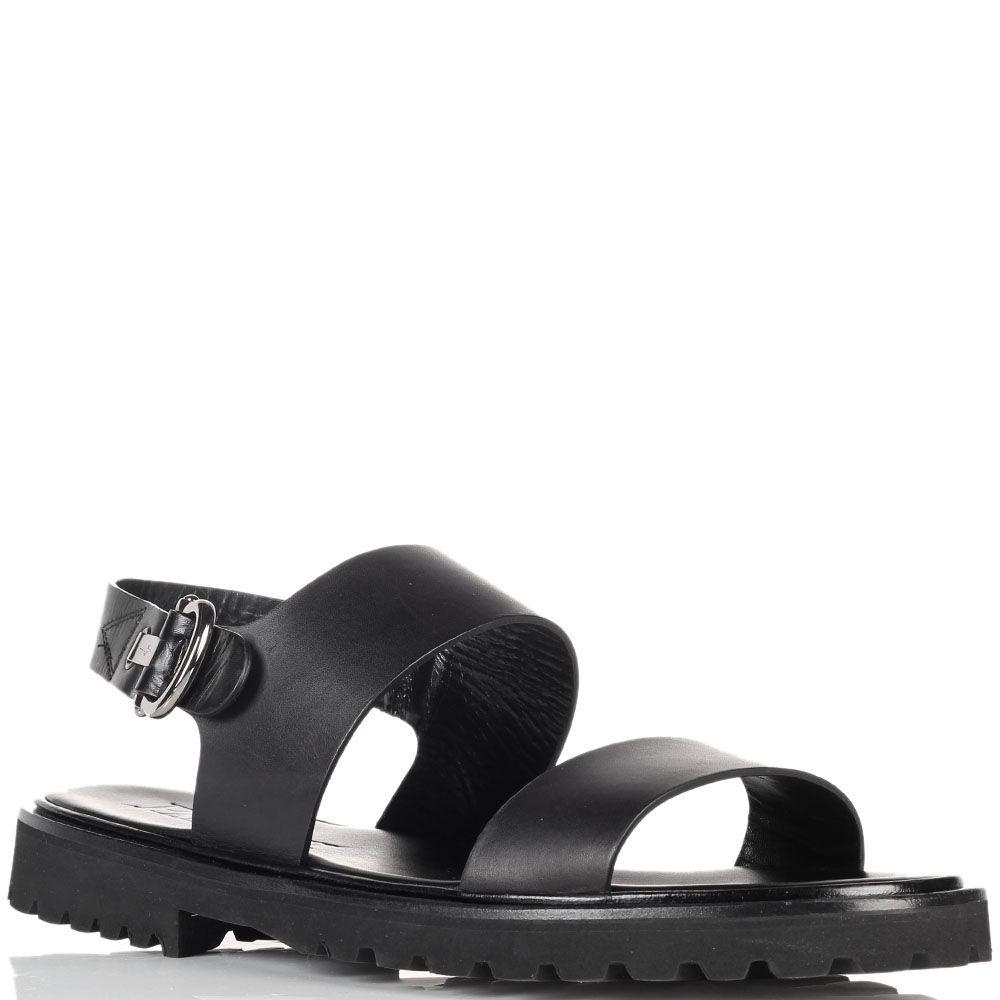Черные кожаные сандалии Cesare Paciotti на рельефной подошве