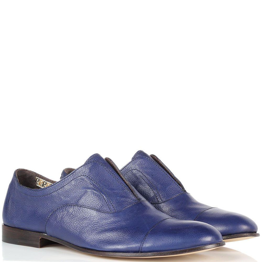Кожаные туфли-броги Fratelli Rossetti яркого синего цвета