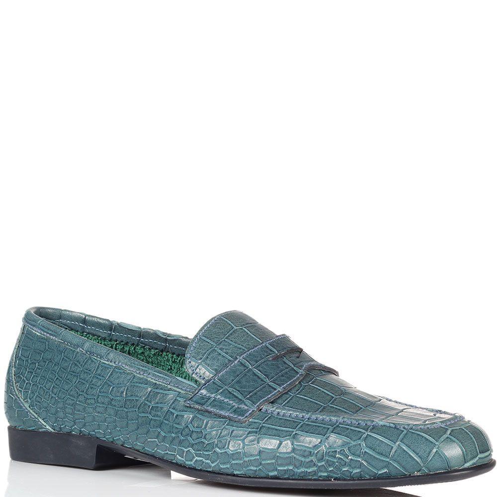 Туфли из тисненной под рептилию кожи Fratelli Rossetti голубого цвета