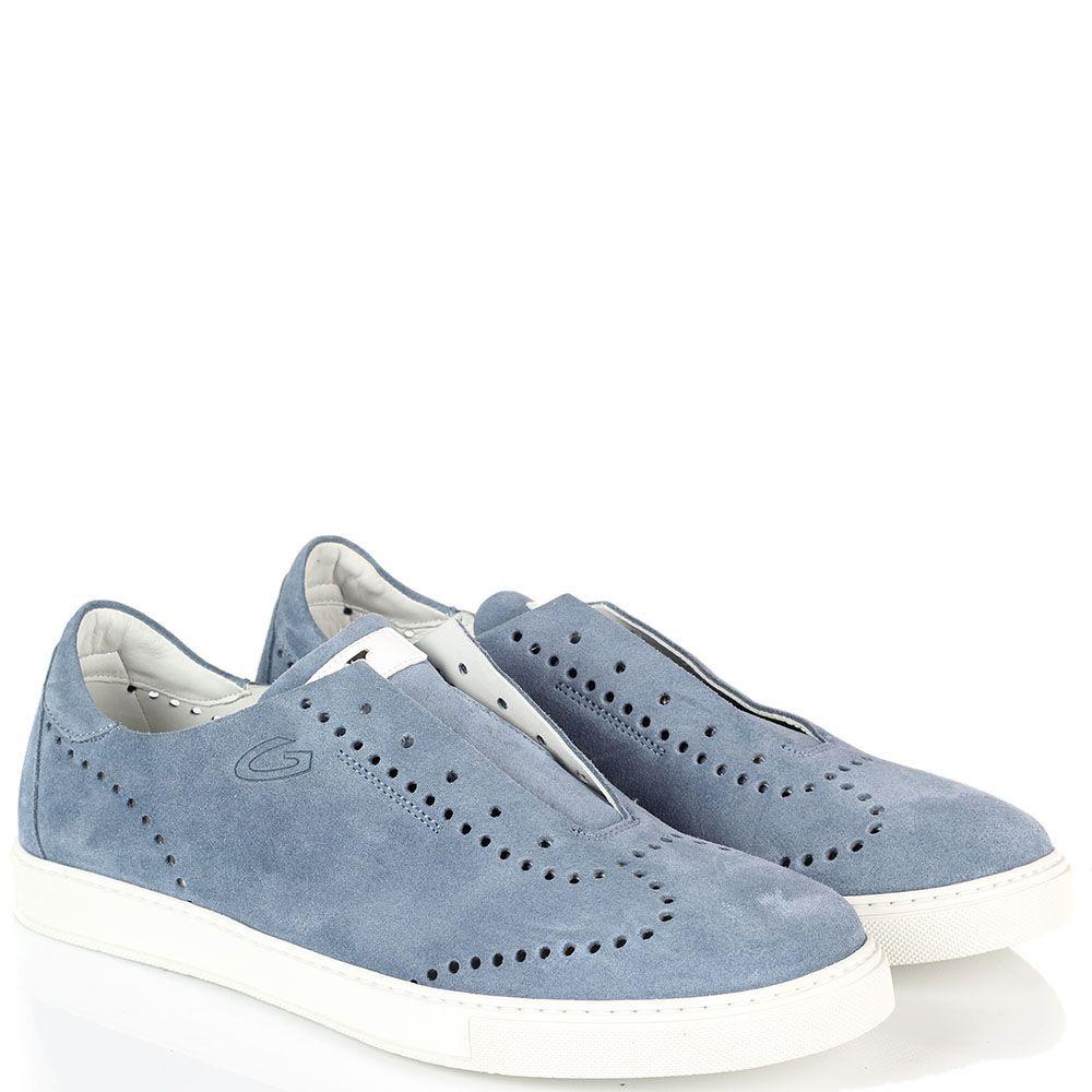 Замшевые кеды голубого цвета Alberto Guardiani с элементами перфорации