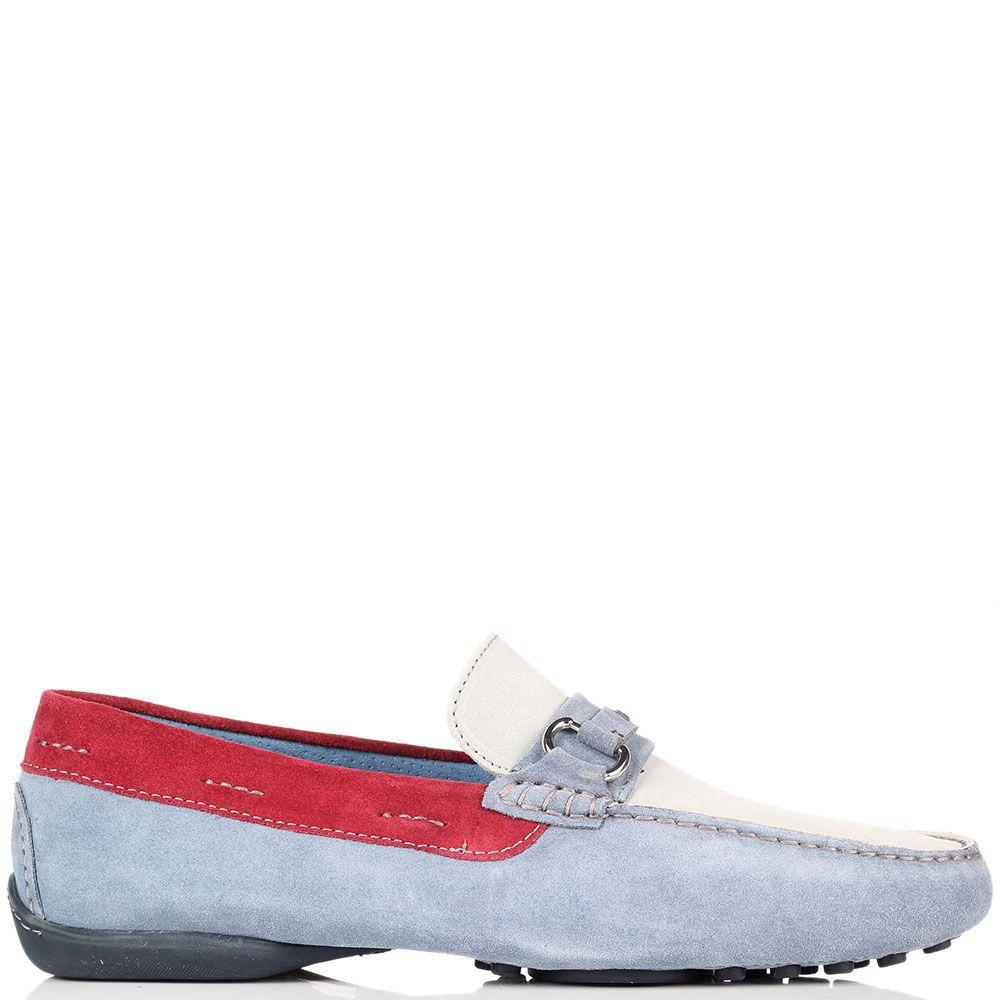 Мокасины из мягкой замши Alberto Guardiani голубого цвета с красными вставками
