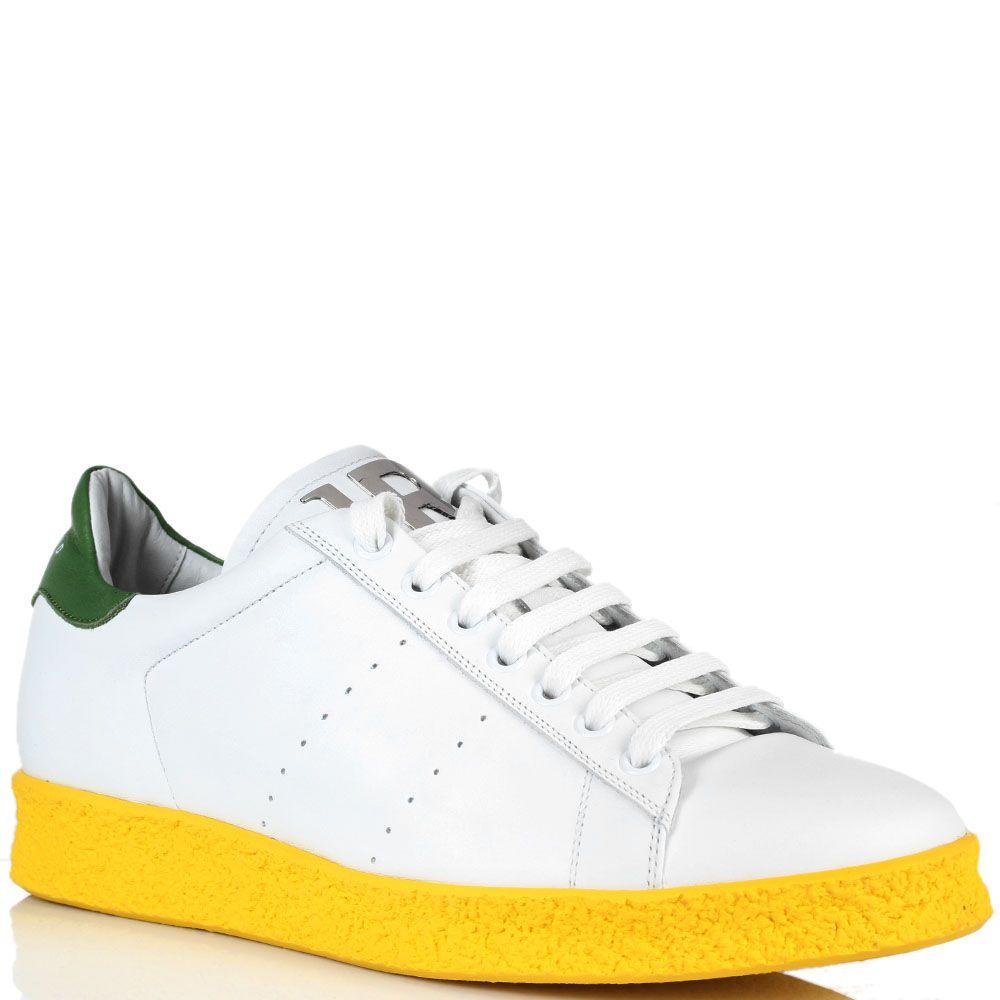 Белые кроссовки John Richmond на ярко-желтой подошве