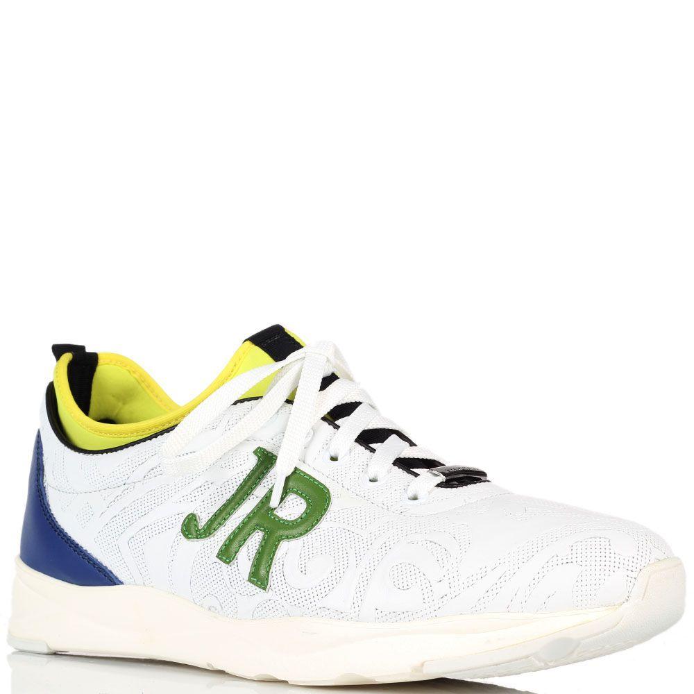 Белые кроссовки John Richmond с разноцветными вставками
