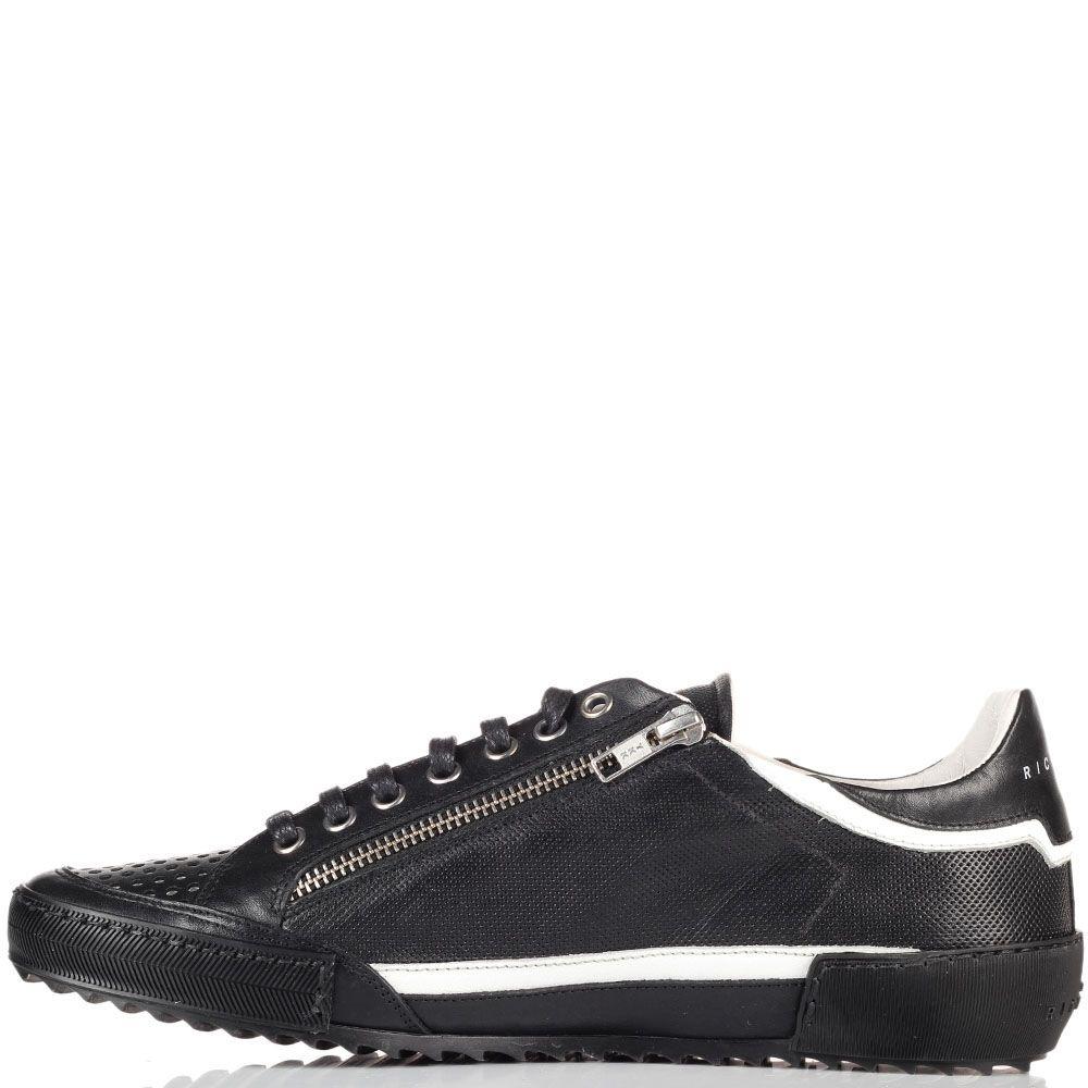 Мужские кроссовки John Richmond черные на белой подошве