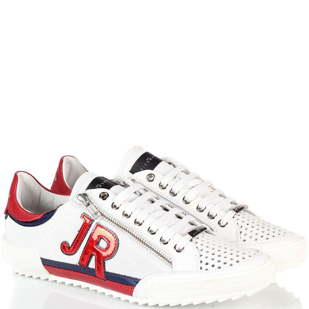 Белые мужские кроссовки John Richmond с красными и синими вставками