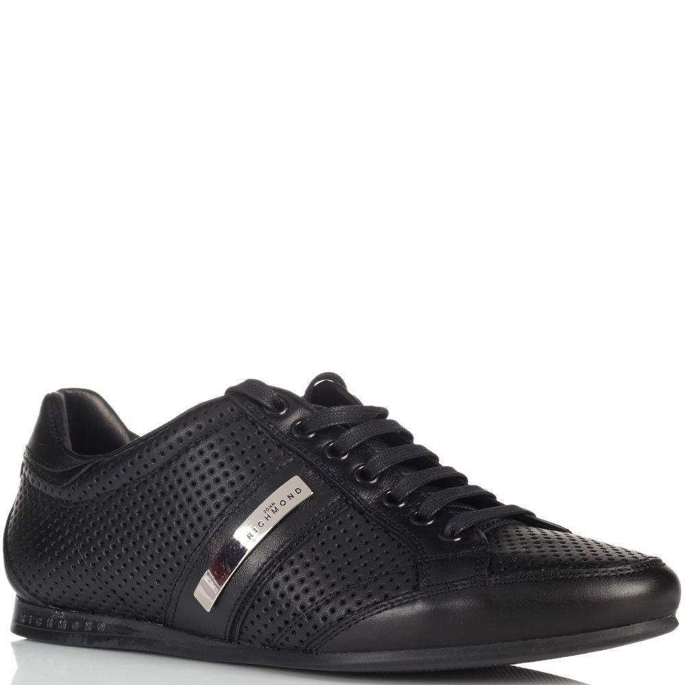 Кожаные мужские кроссовки John Richmond черные