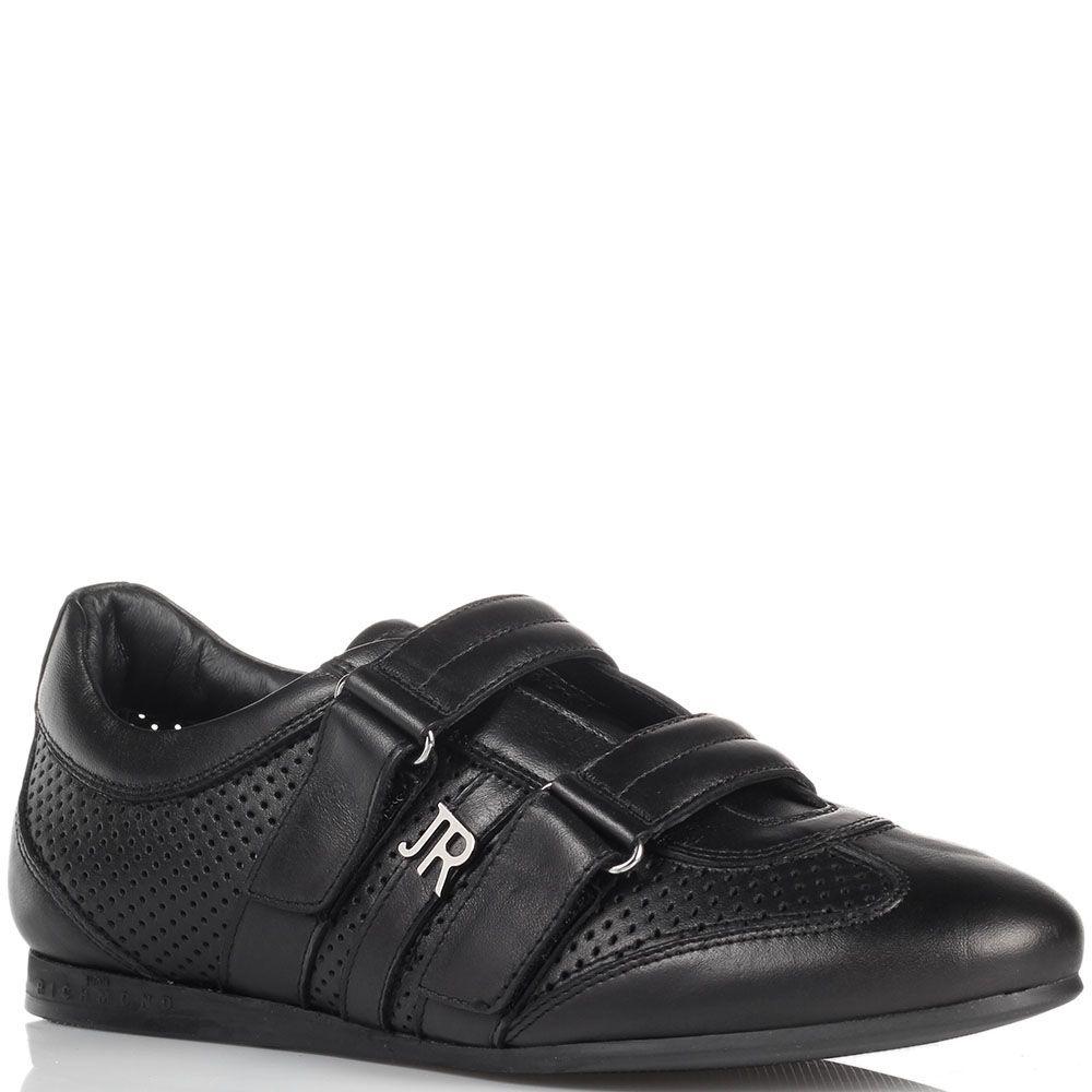 Черные кожаные кроссовки John Richmond на липучках