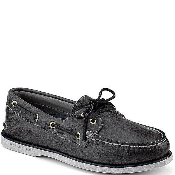 Топсайдеры Sperry мужские черного цвета с черными шнурками