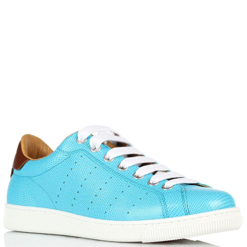 Кожаные кеды Dsquared голубого цвета на толстой белой подошве