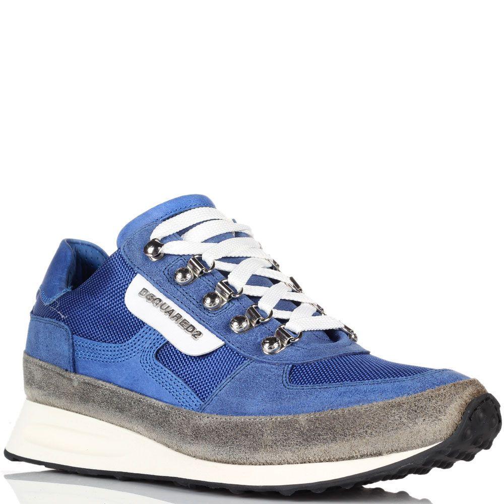 Кроссовки синего цвета Dsquared на толстой подошве