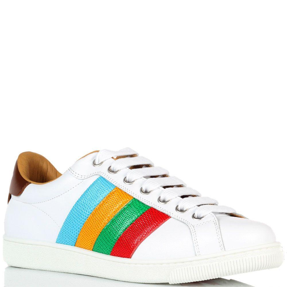 Белые кожаные кроссовки Dsquared с яркими полосками