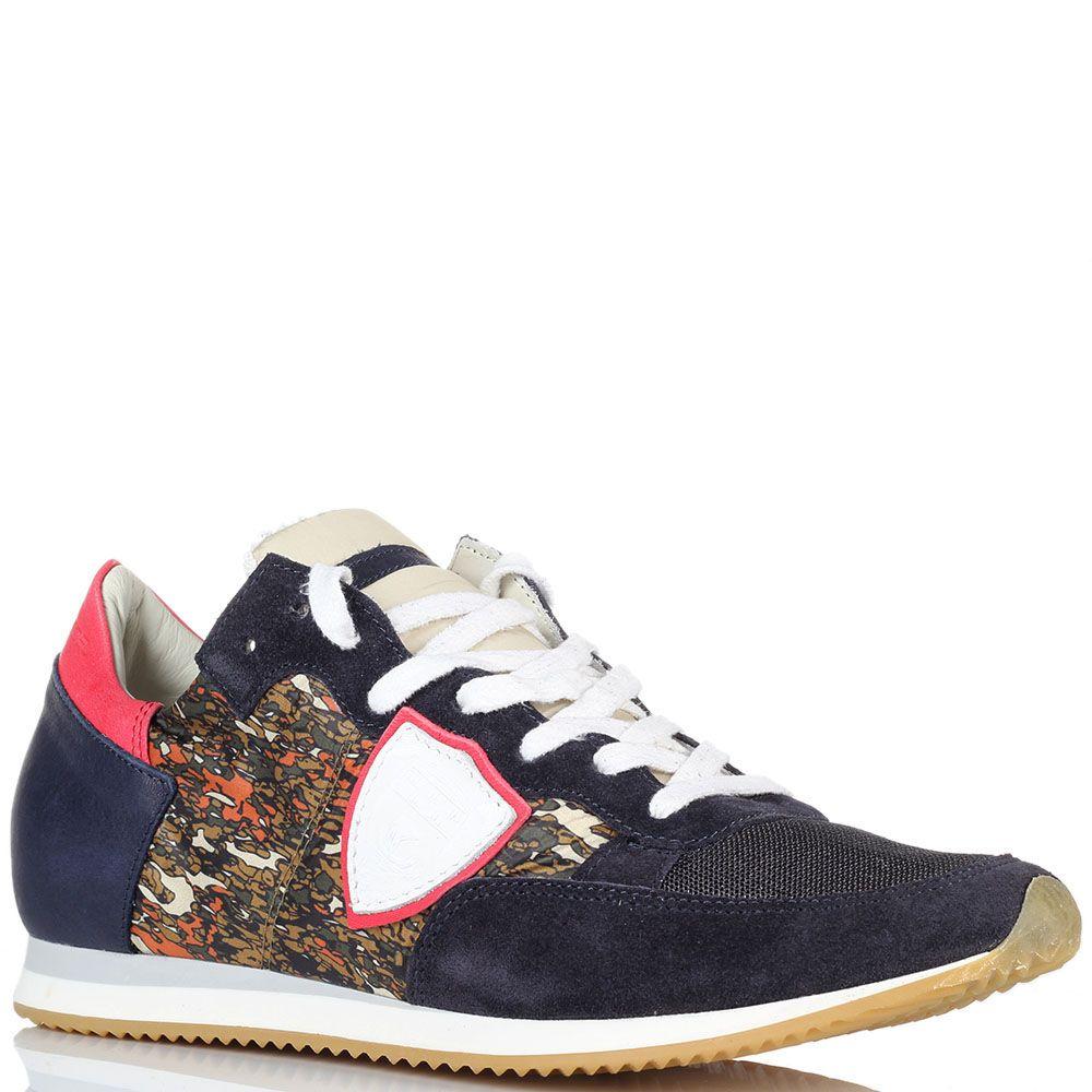 Кроссовки синего цвета с яркими вставками Philippe Model