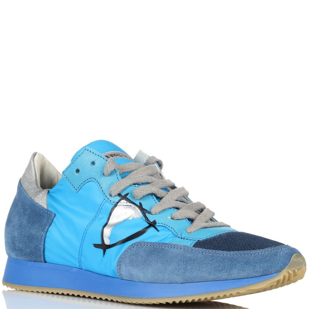 Мужские кроссовки Philippe Model голубого цвета