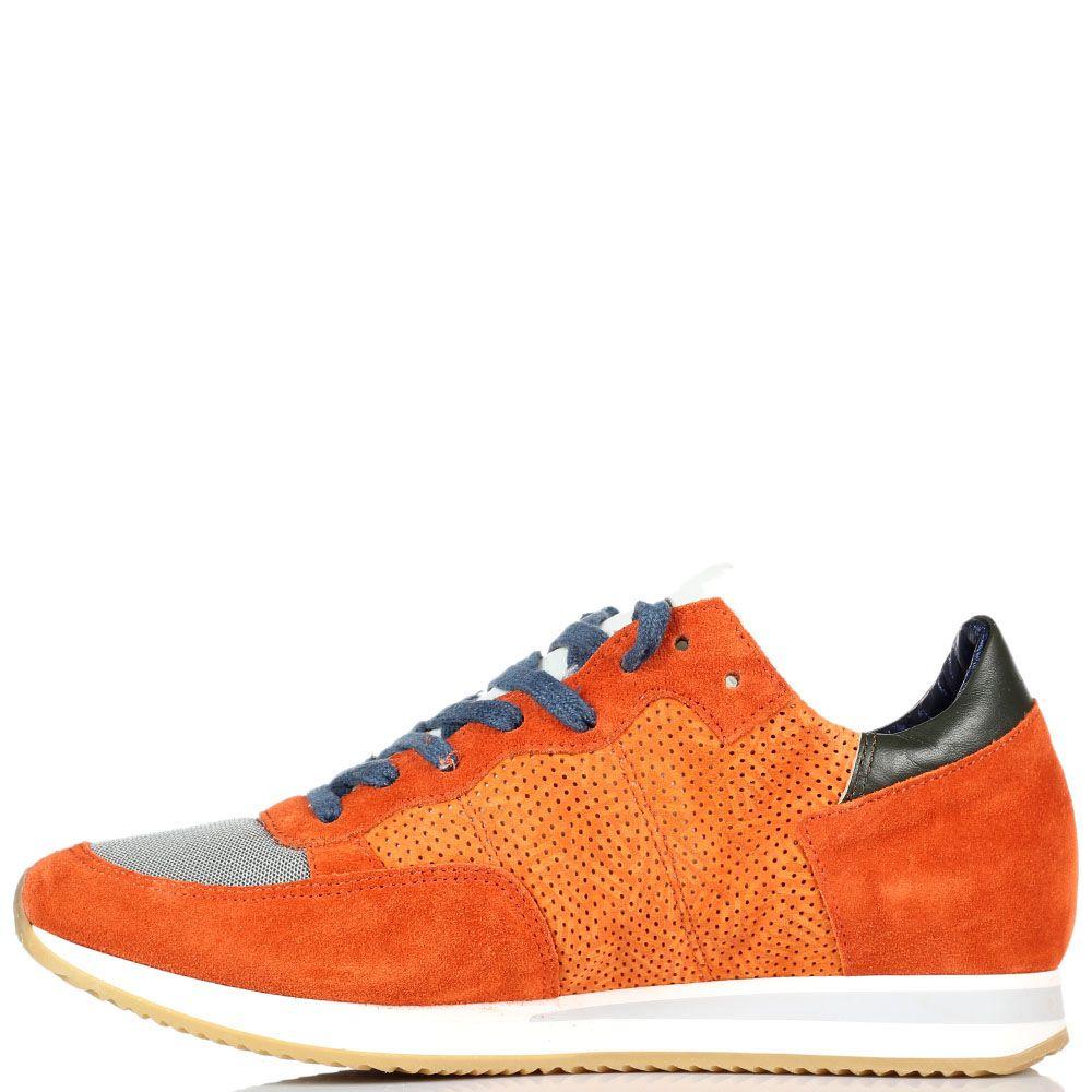 Кроссовки из замши и текстиля Philippe Model оранжевого цвета на толстой подошве