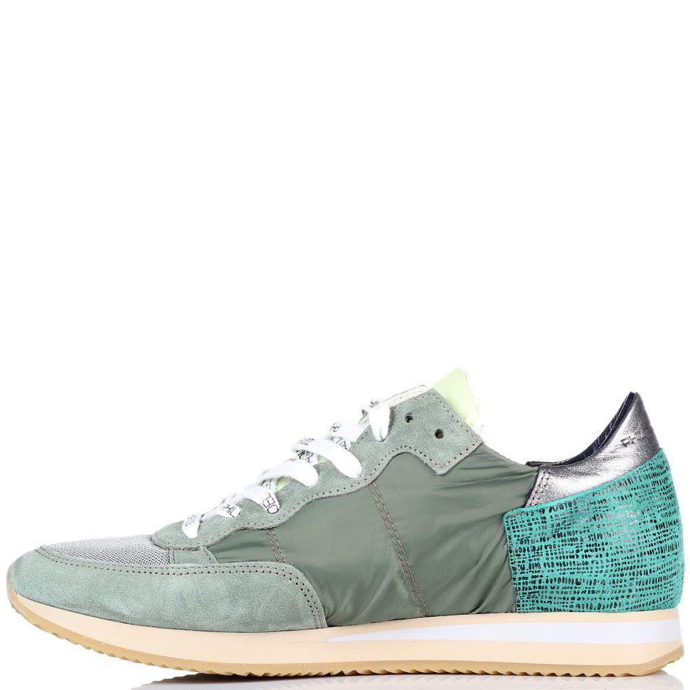 Серые кроссовки из замши и текстиля Philippe Model