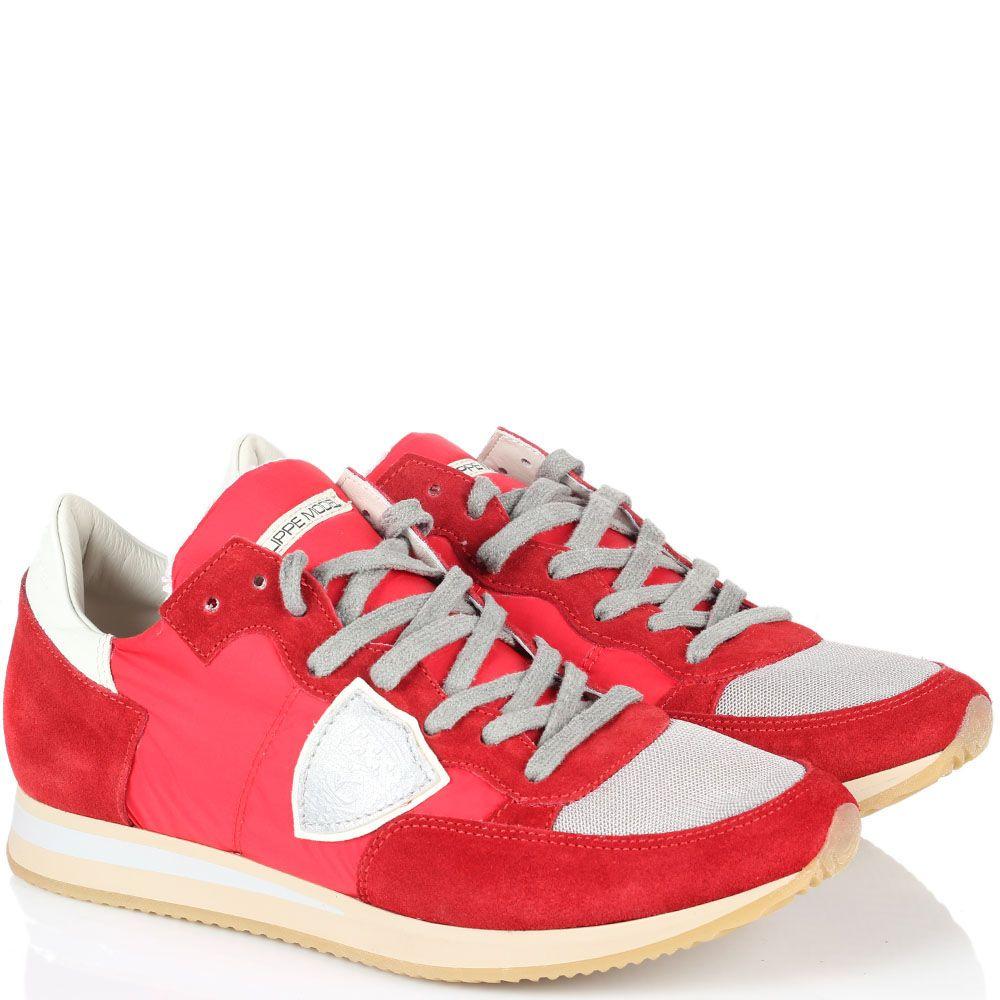 Кроссовки красного цвета Philippe Model из замши и текстиля