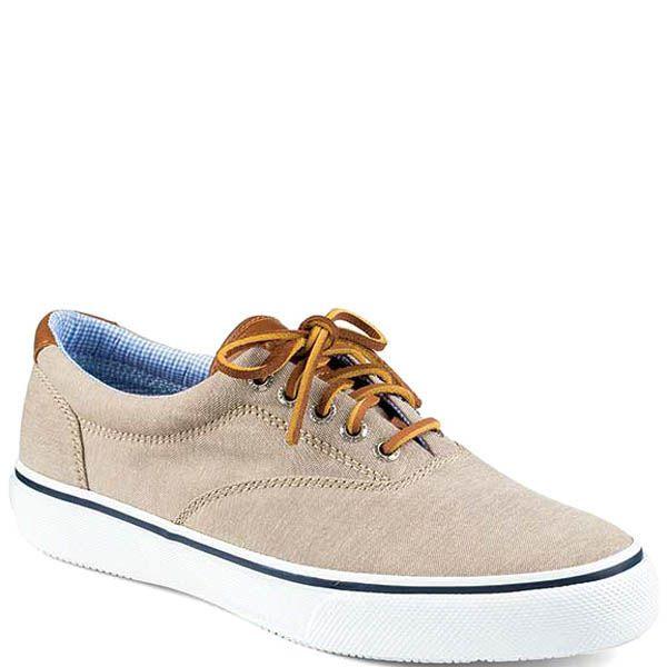 Туфли Sperry мужские спортивные бежевого цвета с кожаными шнурками