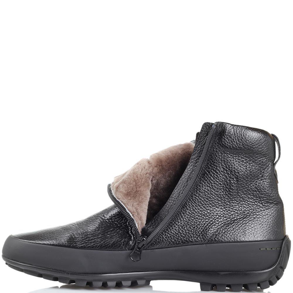 Ботинки на меху Pakerson из зернистой кожи черного цвета