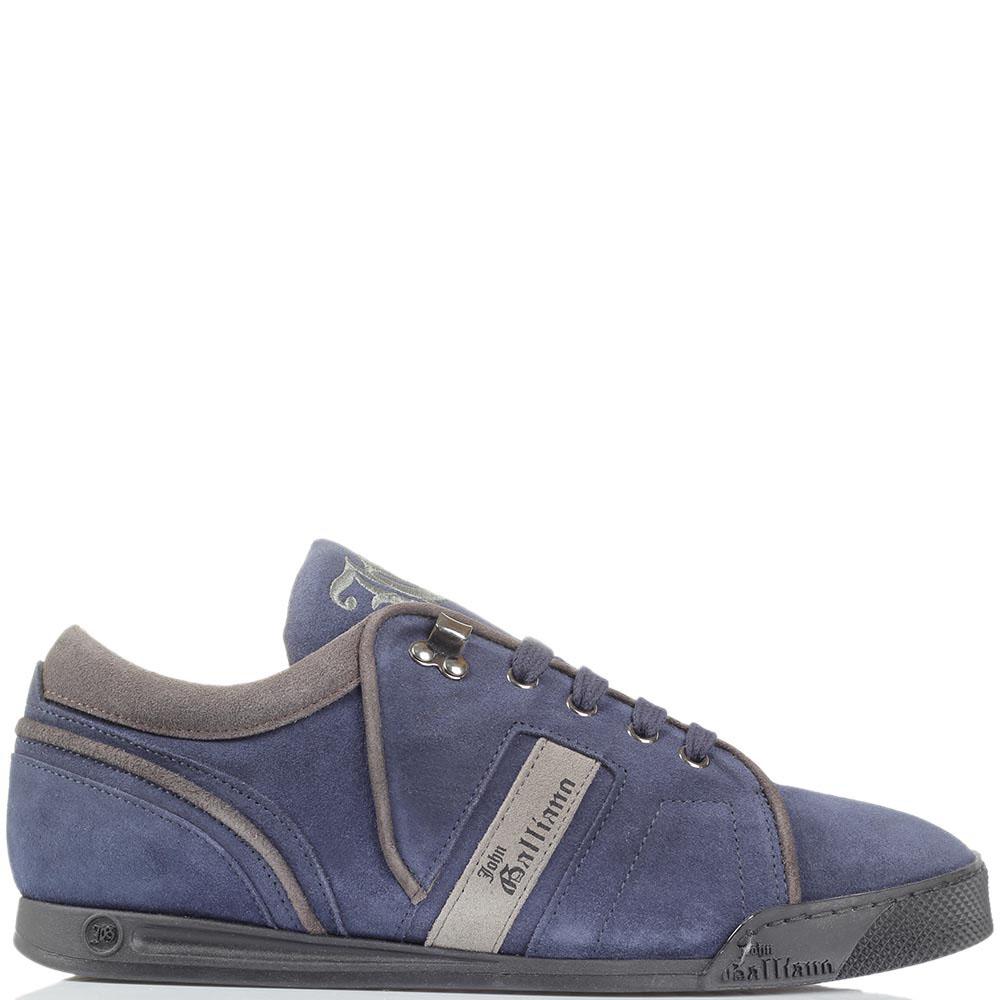 Замшевые кеды John Galliano синего цвета с вышитым логотипом