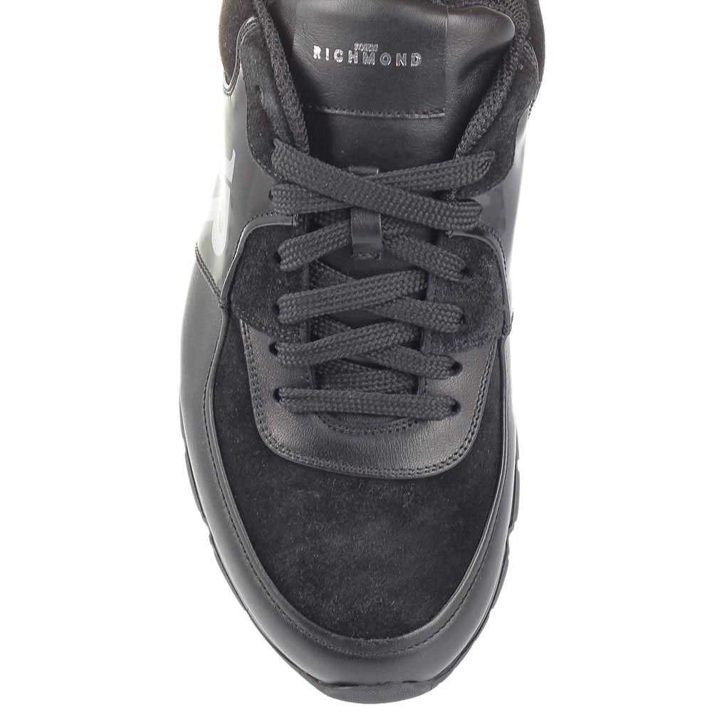 Черные кожаные кроссовки John Richmond со вставками из замши и полированной кожи