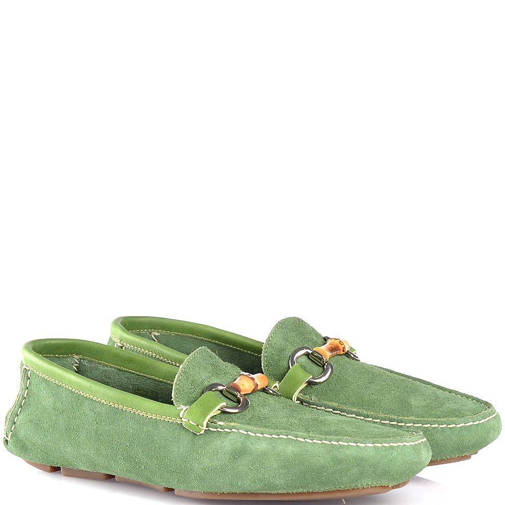 Мужские мягкие лоферы Swamp замшевые зеленые с бамбуковой перетяжкой