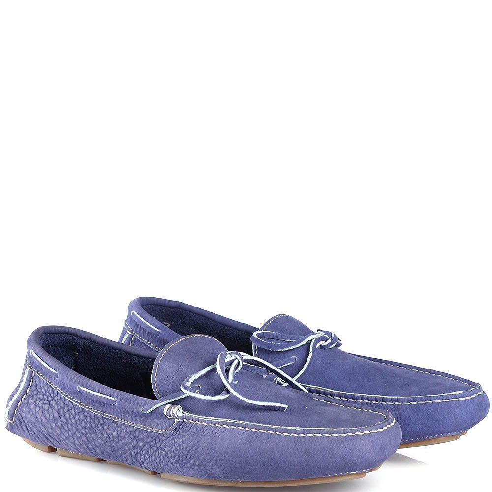 Мужские мокасины Swamp из мягкого нубука синие с легким фиолетовым оттенком